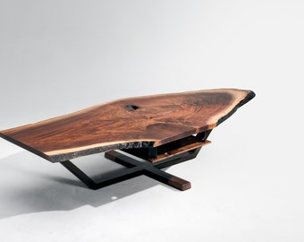 Iroquois Coffee Table, live edge table, walnut live edge
