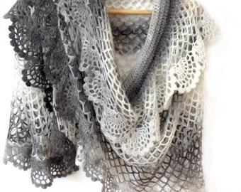 Bridal crochet cape Boho bridal cape Gray crochet shawl Lace crochet cape Dress cover up Gray prayer shawl Crochet cape shawl Frilled shawl