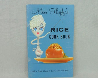 60s Miss Fluffy's Rice Cook Book - Rice Council - Small Rice Cookbook Recipes Pamphlet - Color Photos - Vintage 1960s Cooking Book