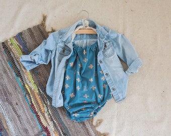 RTS Sale muted blue with peach geometric pops lace tie boho modern baby romper