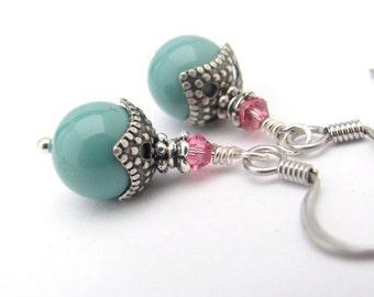 Jade Swarovski Crystal Pearl Earrings, Rose Pink Dainty Dangle, Spring Summer Colors Antiqued Silver Victorian Design, Wedding Bride Gift