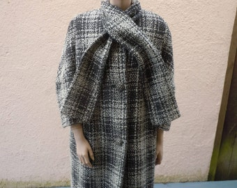 """Bust:  up to  44"""" ** 1960s Gray Heavy Wool Knit Jacket with Thick Satin Liner and Built-In Scarf"""