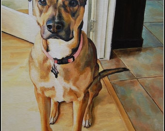 EXAMPLE ONLY. Custom Pet Portrait Painting, 16x20 Oil, Dog