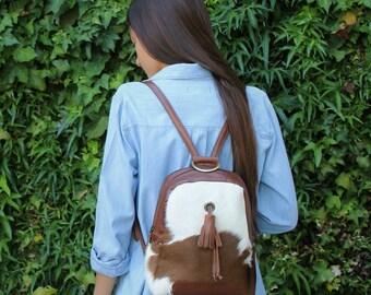Mini  backpack | Furry  backpack | Fur leather rucksack |  Women Leather backpack | Minimalist design backpack | brown leather backpack |