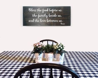 Farmhouse Dining Room - Bless the Food Before Us - Farmhouse Dining Room Decor - Farmhouse Dining Room Sign - Dinner Prayer - Wood Signs
