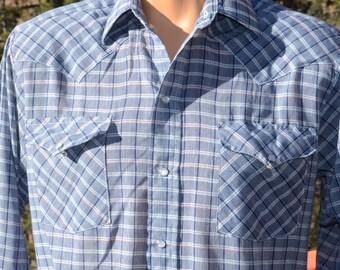 vintage 70s western shirt cowboy blue plaid PANHANDLE slim pearl snaps Medium 15 1/2 - 33