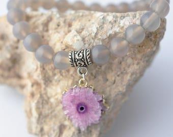 Reiki Bracelet Fertility Jewelry Purple Quartz Bracelet Healing Crystal Bracelet Gray Bracelet Charm Bracelet Calming Bracelet Jade Bracelet