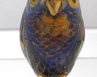"Enamel Cloisonne Owl Ornament 2"" High"