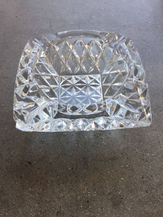 Vintage Crystal Diamond Cut Ashtray