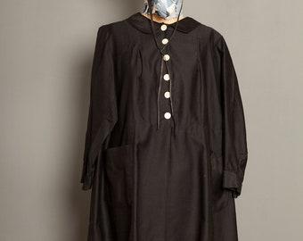 French Black Work Coat Blouse 1920 (L/XL)
