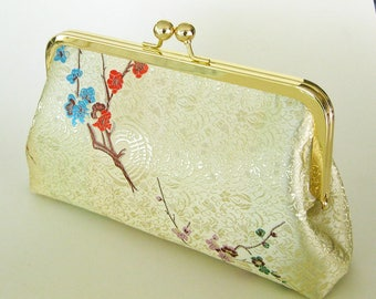 Ivory with Delicate Floral Purse Handbag - Silky Clutch with Gold Purse Frame and Chain - Made in the USA and Ready to Ship by UPSTYLE