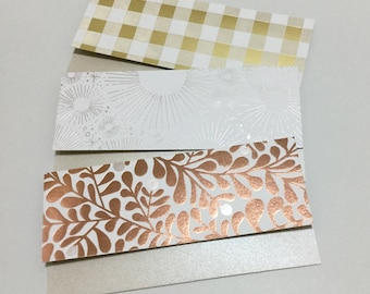 Money Envelopes with Note Cards - Set of 6 Metallic/Shiny Money Envelopes