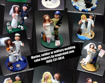 US Army, Air Force, Navy Wedding Cake Toppers, Custom Made Military Wedding Cake Topper - Soldier's Wedding Cake Topper