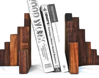Rustic Wood Bookends, Walnut - Set of 2, Wood Art, Wooden Bookends, City Scene Bookends, Rustic Modern Bookends, Wood Book Ends