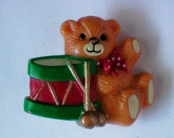 Molded Plastic Teddy Bear with Drum Pin - 4954