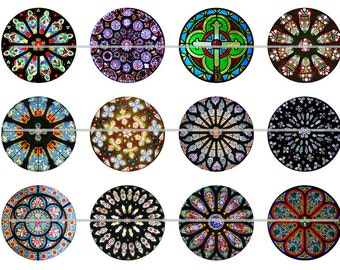 """Stained Glass Magnets, Stained Glass Pins, Stained Glass Cabs, 1"""" Flat, Hollow Backs or Cabochons, 12 ct."""