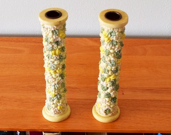 Vintage Pair of Ceramic Candlesticks with Climbing Flowering Vines
