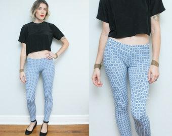 Blue White Print Leggings // Handmade Stretchy Knit Pattern Pants Yoga Size Small Medium