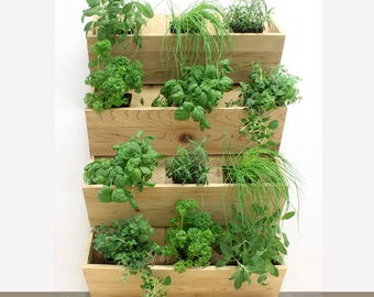 Name: The four pleats (vertical garden, plant stand, plant, upright plant, planter, cedar wall planter, herb garden, upright plant)