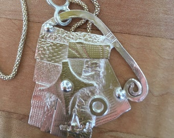 """NEW Reclaimed Patterned Sterling Free-Form Asymmetrical On 18"""" Sterling Chain Good to the Last Drop! #3"""