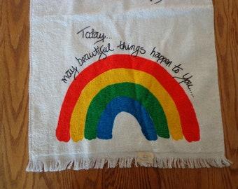Vintage Rainbow Hand Towel, Terry Cloth, 1970's Bathroom Decor