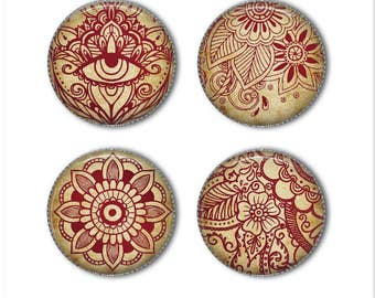 Henna magnets or Henna pins, Henna tattoo, mandala, refrigerator magnets, fridge magnets, office magnets