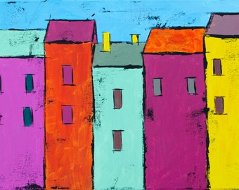 Original Colorful Row of Houses Acrylic Painting 20x10