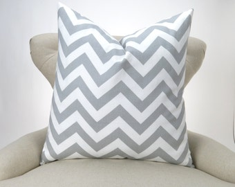 Throw Pillow Cover, Gray Chevron Cushion, Accent Pillow, Euro Sham, Cushion Cover -MANY SIZES- Zigzag Storm Twill Premier Prints
