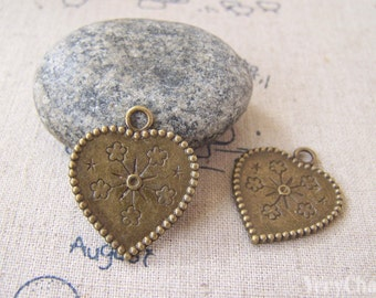 20 pcs Antique Bronze Flower Heart Charms Double Sided  22x26mm  A5234