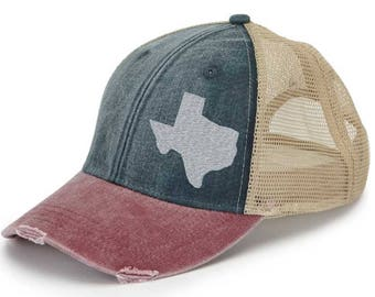 Texas  Hat - Distressed Snapback Trucker Hat - off-center state pride hat - Pick your colors