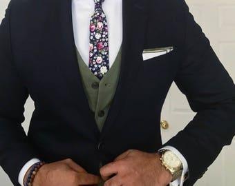 Skinny Floral Tie,Boyfriend Gift Men's Gift Anniversary Gift for Men Husband Gift Wedding Gift Gift For Him Groomsmen Gift Gift for Friend