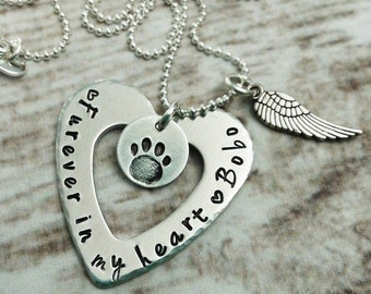 Personalized Dog Memorial Necklace, Dog Memorial Jewelry, Puppy Memorial Gift, Pet Memorial Necklace, Pet Remembrance Jewelry, Sympathy Gift