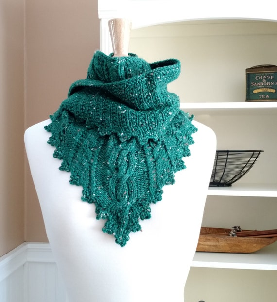 Clover Lace Cabled Shawlette Pdf Knitting Pattern With Crochet