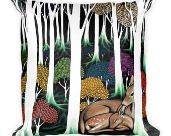 Deer + Forest Accent Pillow - Throw Pillow, Psychedelic Home Decor, Art Pillow