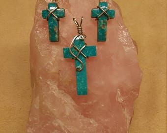 Blue Sonora Turquoise Cross Pendant & Earrings Set with sterling silver/ backed