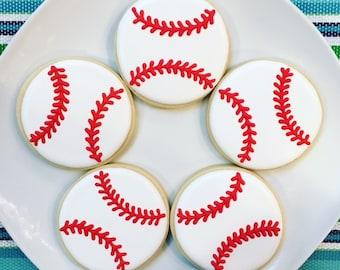 One Dozen Baseball Sugar Cookies