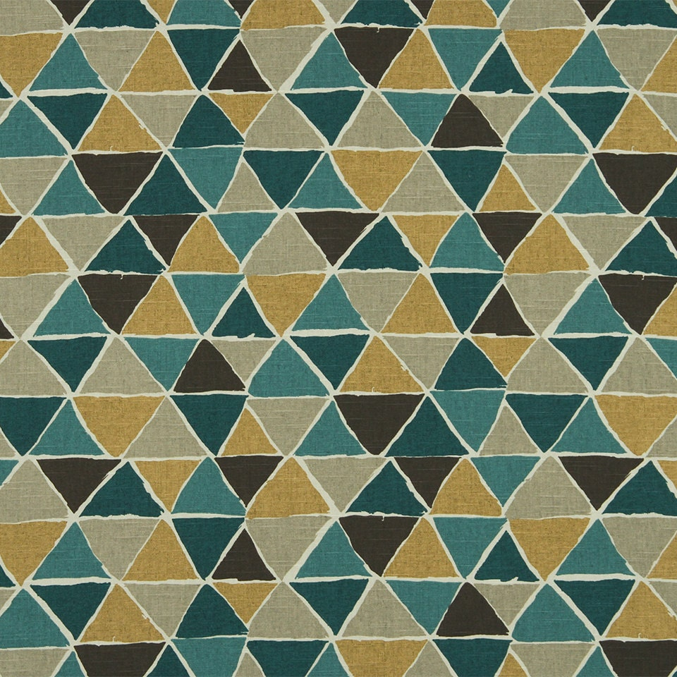 Geometric Teal and Mustard Yellow Upholstery Fabric Dark
