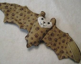 Brown Paw Print Bat Cup Sleeve/Coffee Cozie/Stuffed Animal