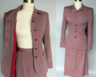 copascetic / 1940s fitted wool suit striped in mauve + burgundy / 2 xs