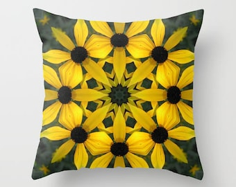 Throw pillow OR pillow cover, Black eyed susan mandala, kaleidoscope, Rudbeckia, yellow, gold, gift, living room decor, home decor