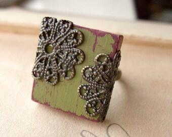 Cottage Chic Ring Filigree Boho Adjustable Scrabble Tile  - Olivine
