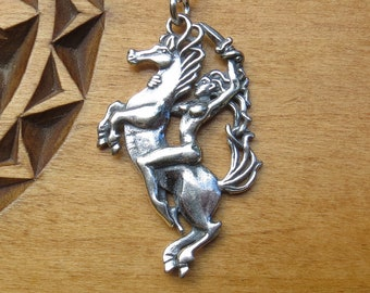 STERLING SILVER Epona Celtic Horse and Rider My ORIGINAL Pendant Necklace - Chain Optional