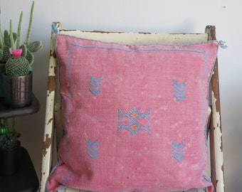 Pillow cover,Cactus Silk,  Pink and blue colour, Boho Morrocan pillow  ,20 by 21