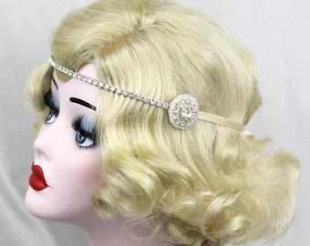 Silver Headband - Wedding Hair Accessory - Crystal Headpiece - Great Gatsby Prom - Classic Bridal - 1920s Flapper - Bridesmaids Accessories