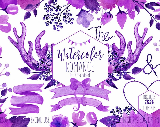 PURPLE WEDDING CLIPART Commercial Use Clip Art Woodland Watercolor Ultra Violet Floral Bouquets Deer Antlers Banners Digital Papers Graphics