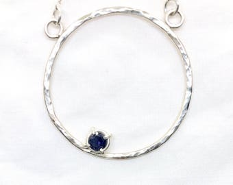 Iolite and Silver Circle Necklace