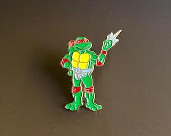 Vintage Teenage Mutant Ninja Turtle Pin, Raphael Enamel Pin Badge, TMNT