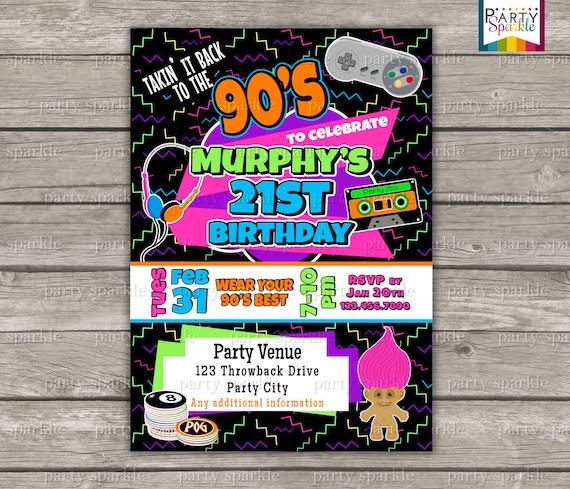 Takin It Back To The 90s Retro Birthday Invite Personalized