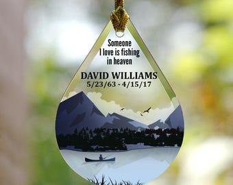 Personalized Fishing Memorial Tear Drop Glass Ornament, memorial gift, memorial ornament, Christmas, fisherman -gfyL11771111-fish