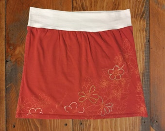 Coral with Floral Design T-Shirt Skirt, Size Medium